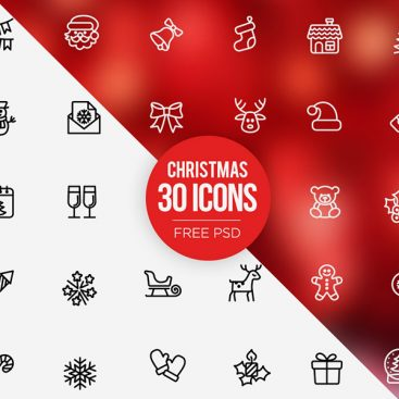 Free PSD Christmas Icons Set
