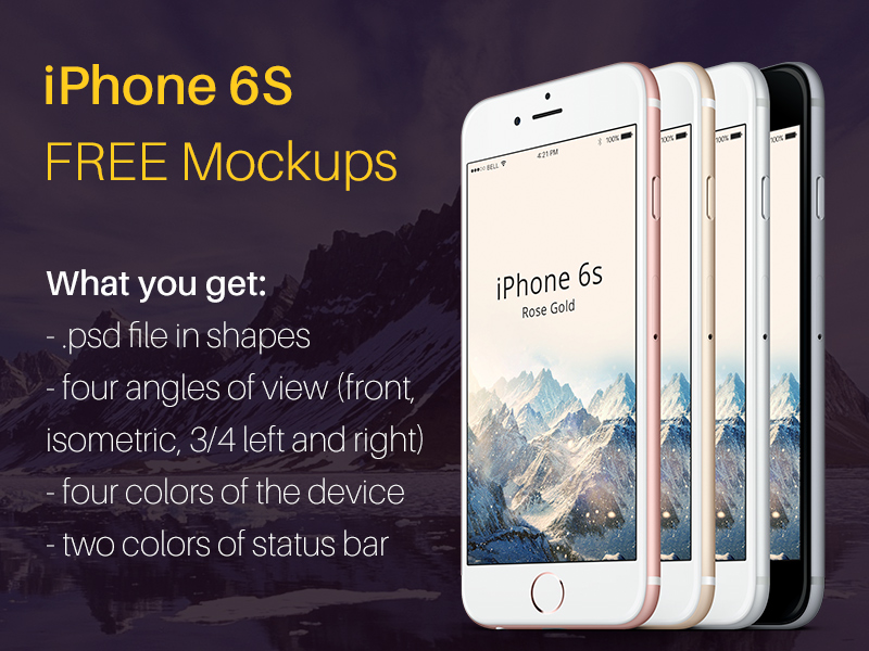 iPhone 6S FREE mockup (4 colors, 4 angles of view)