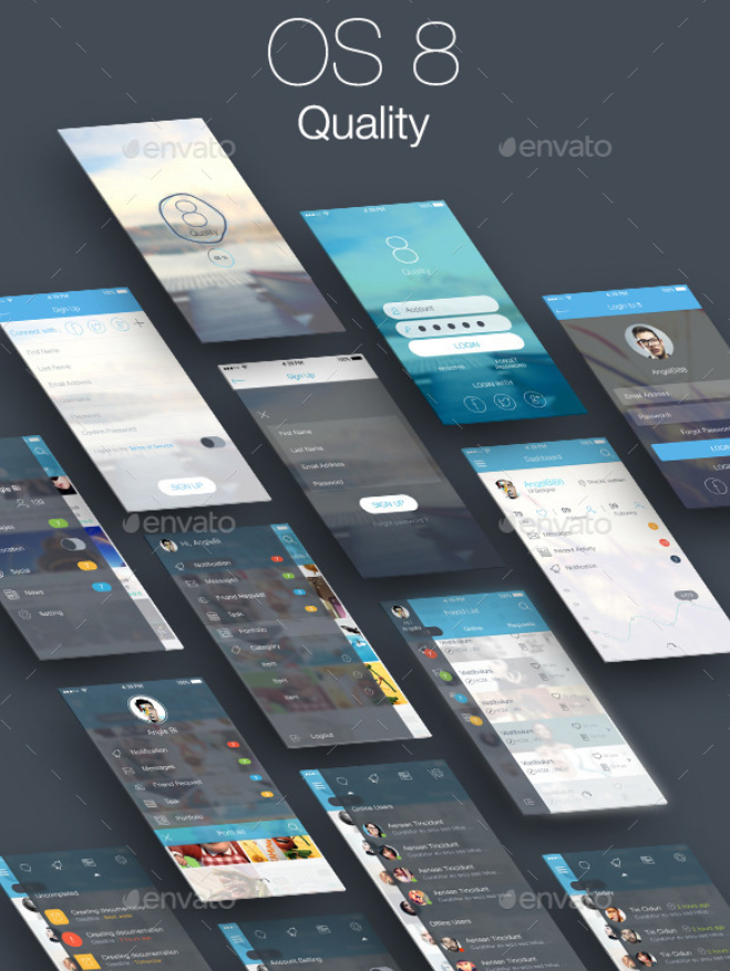 8 Quality Bundle - Mobile and Tablet UI Kit