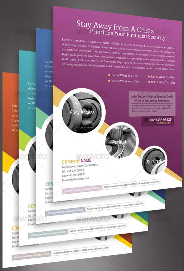 Business Flyer Template With 4 Color Schemes