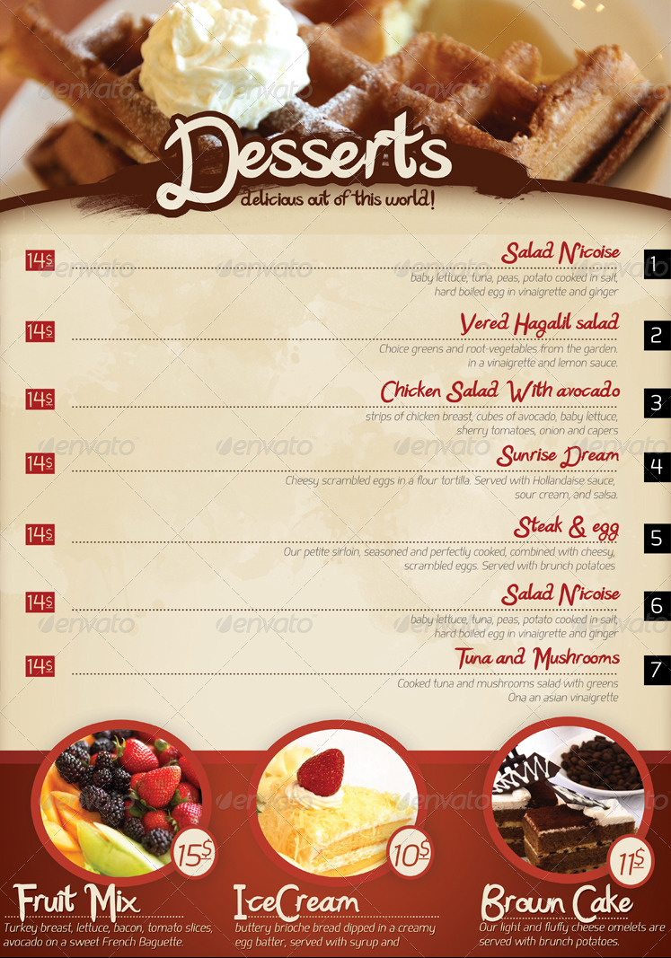 Cafe Restaurant Menu