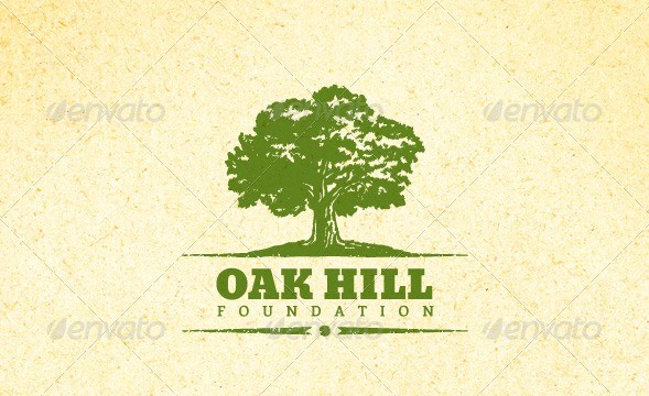 Holistic Oak Tree Vintage Emblem Logo Set