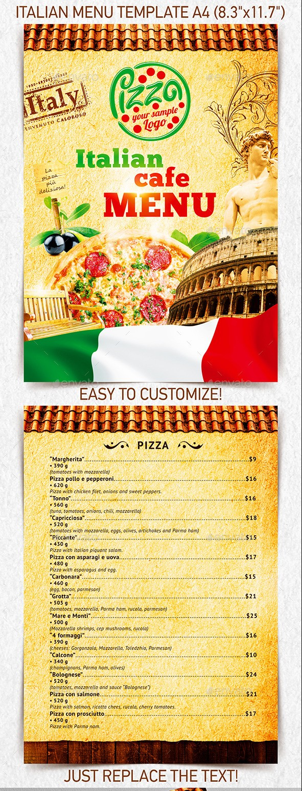 Italian Menu Template vol.2