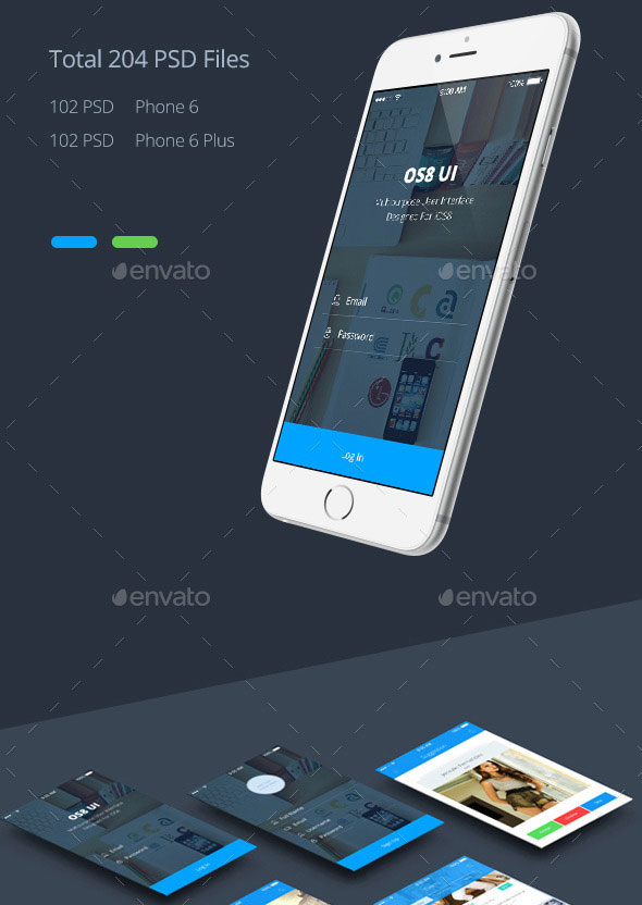 Phone 6 Plus OS 8 Style App UI Templates