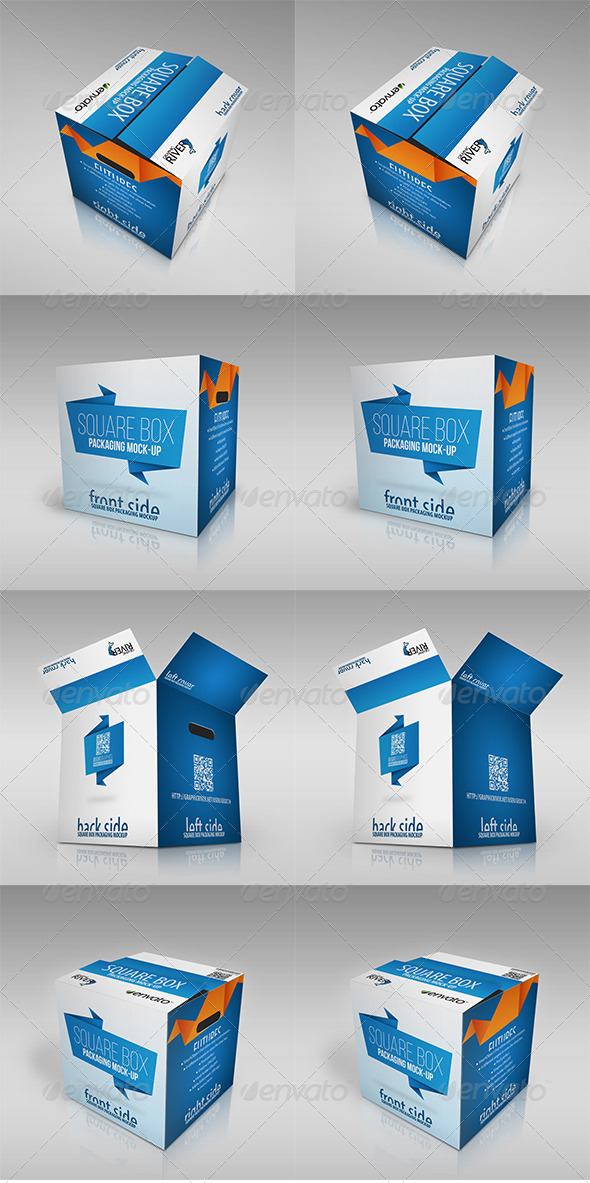 Realistic Square Packaging Box Mockup