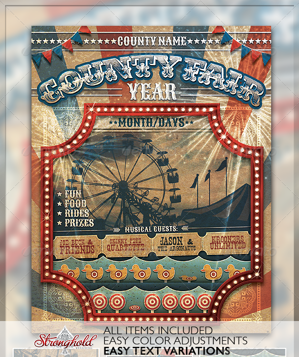 Vintage County Fair Carnival Flyer