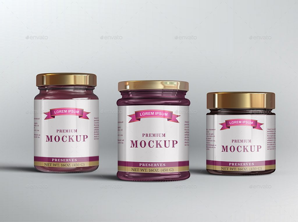 10 Jelly / Jam / Honey Jars Mockup