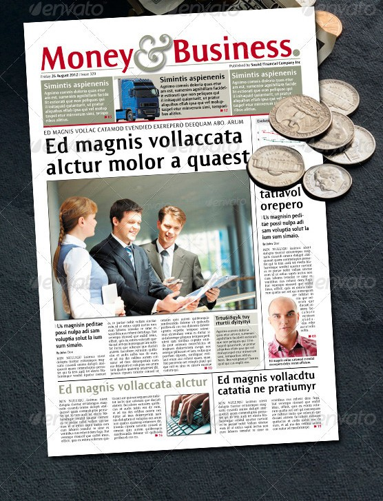 24 Pages Financial Newspaper Version One