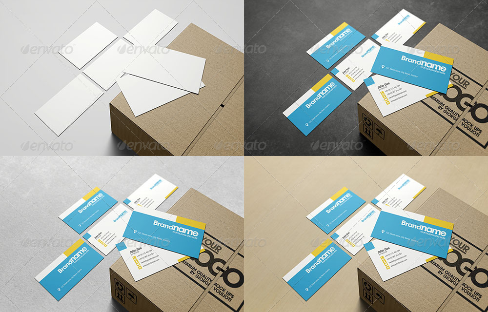 Business Cards in Cardboard Box Mockup