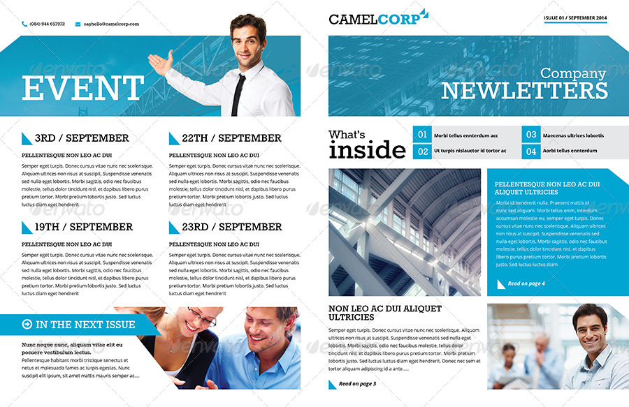 46 printable newsletter templates in psd indesign formats