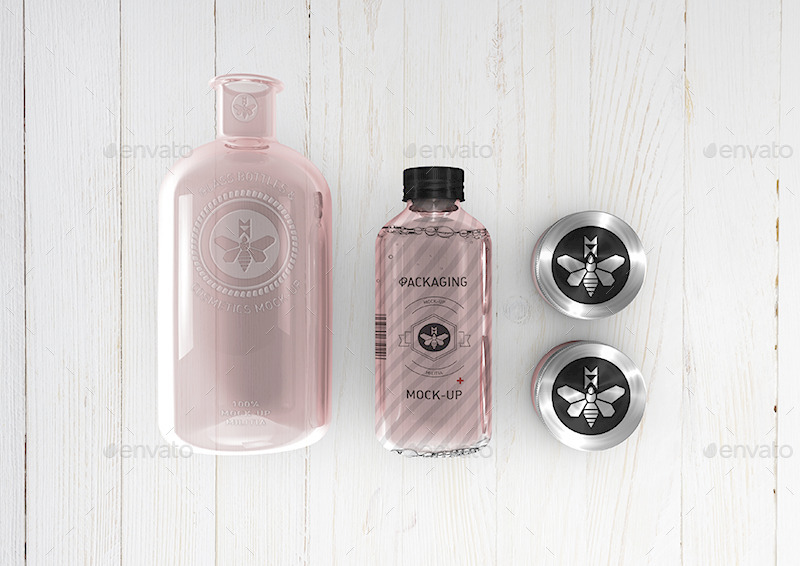 Cosmetics Mockup - Boston Round Bottle Mockup