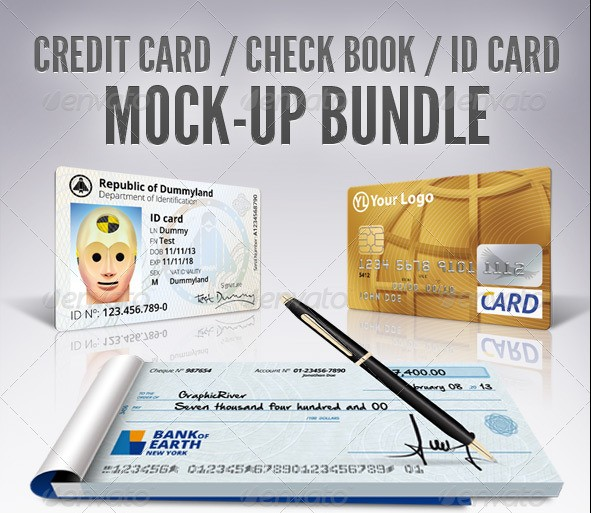 Credit Card / Check Book / ID Mockup Bundle