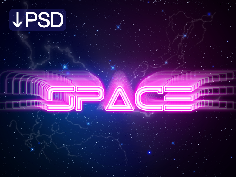 Dribbble Space Text Effect