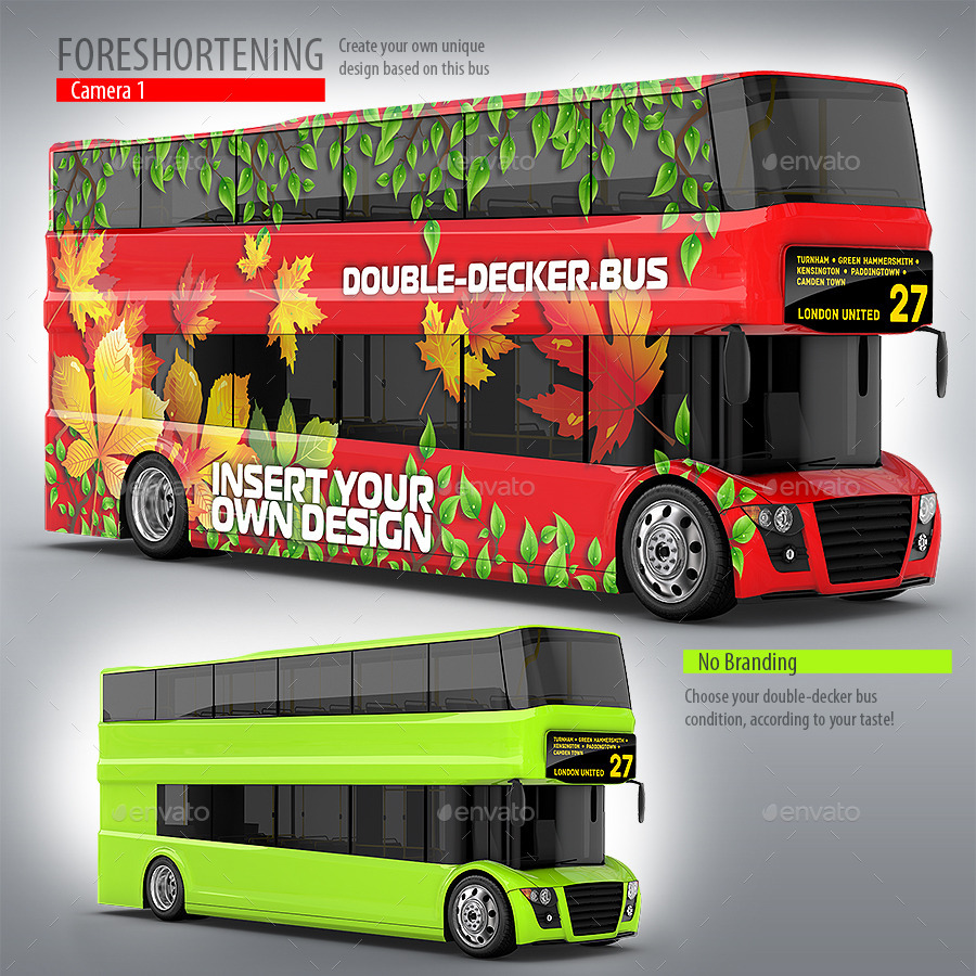 Red Double-Decker Bus Mockup