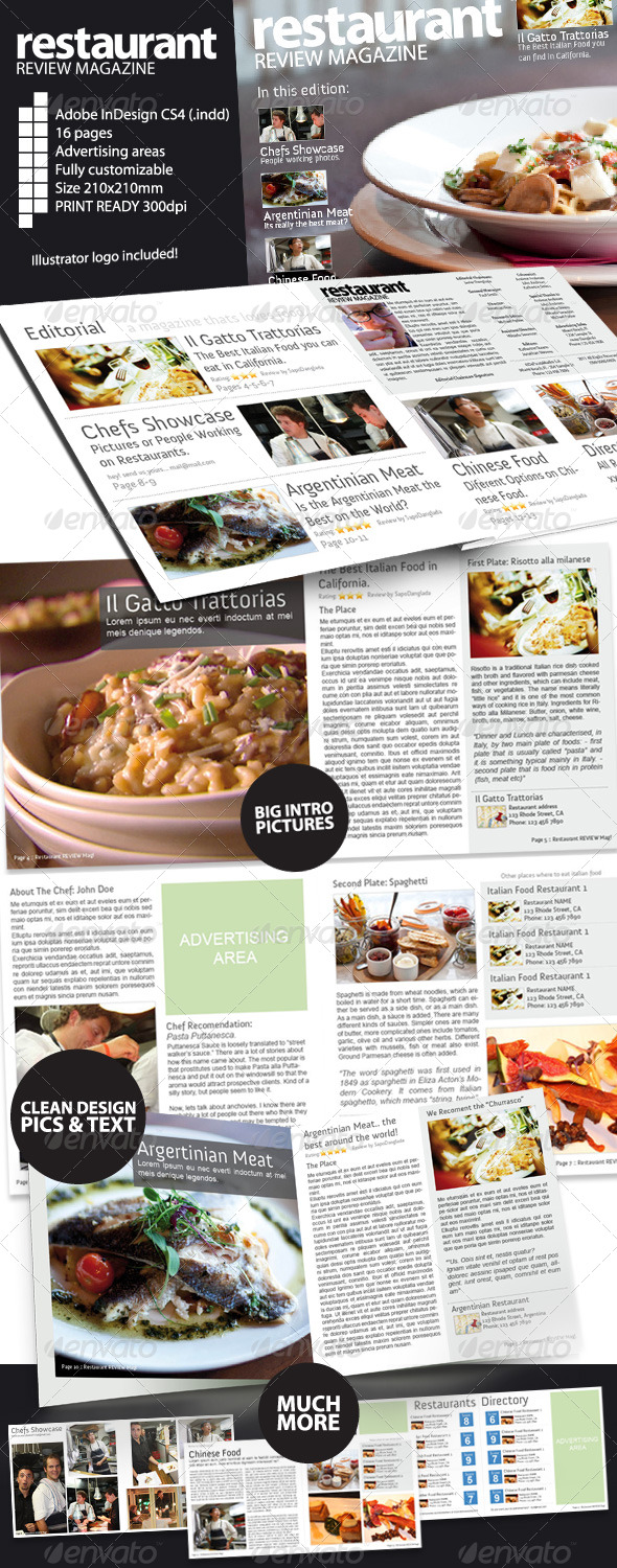 Restaurant Review Magazine Indesign CS4
