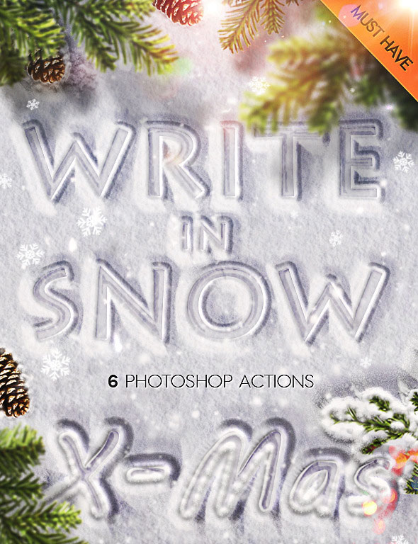 Snow Writing Photoshop Actions for Winter Time