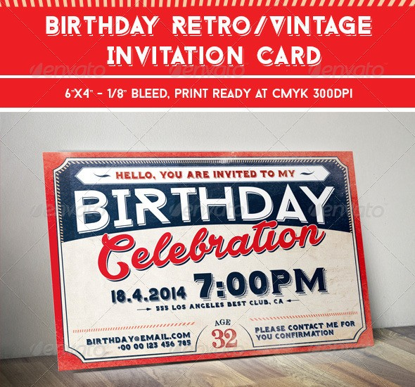 Birthday Retro/Vintage Invitation Card