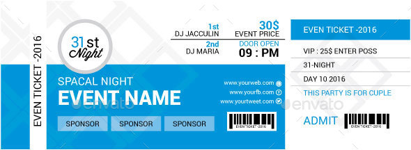 46 print ready ticket templates psd for various types of events