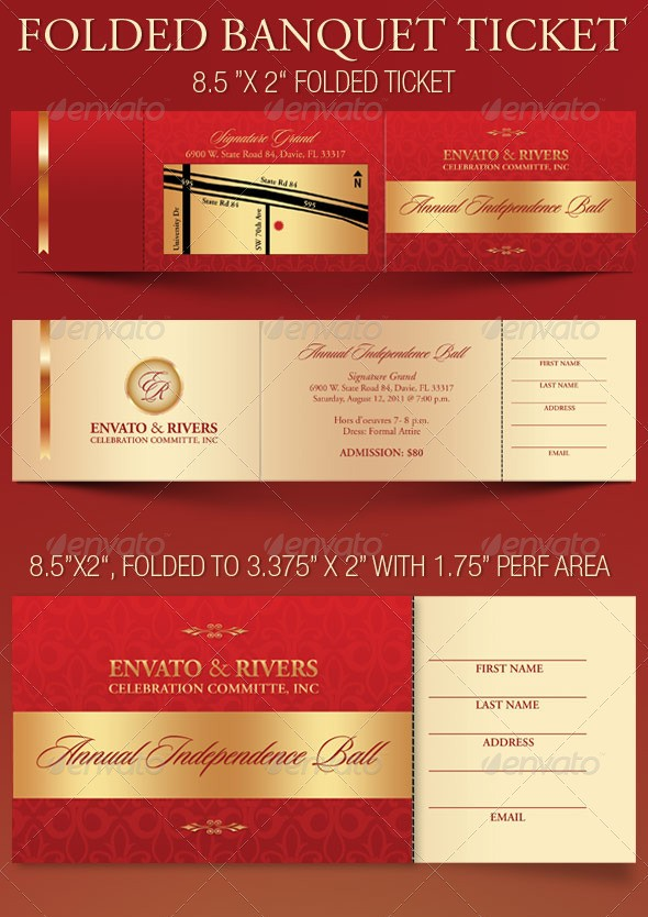Folded Banquet Ticket Template