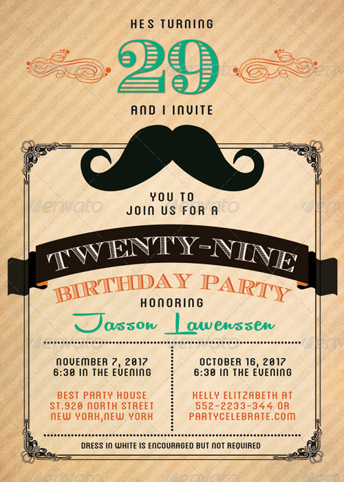 Funny Mustache-Birthday Invitation Card