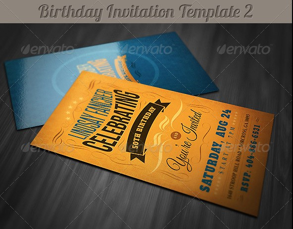 Retro Birthday Invitation 2