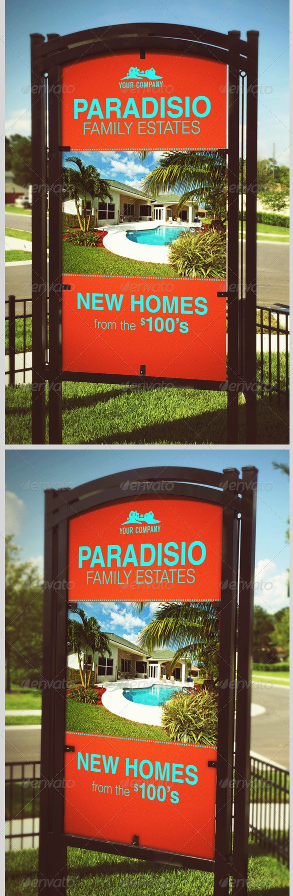 Vertical Outdoor Signage Mockup Template