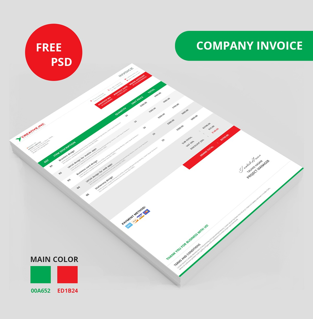 38 Invoice Templates PSD DOCX INDD