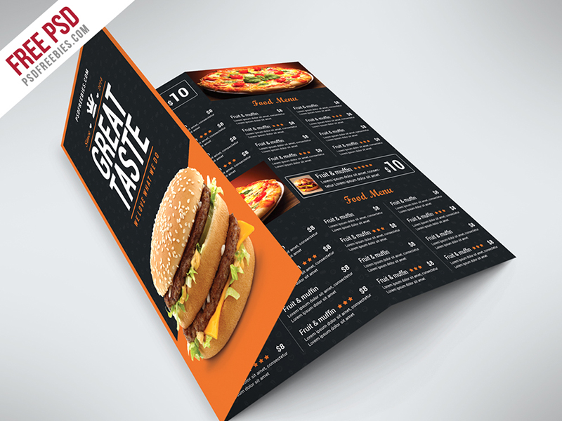Free Fast Food Menu Tri-Fold Brochure Template