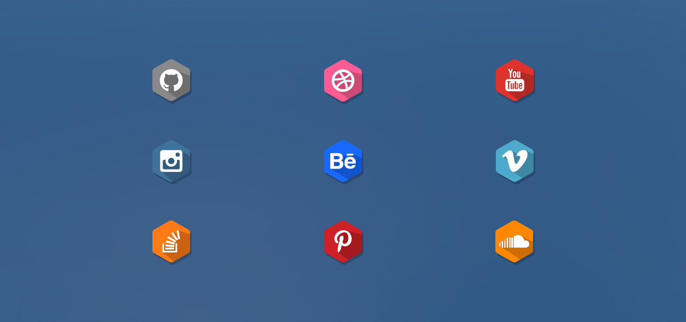 Free Long Shadow Flat Social Media Icons