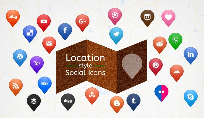 Free Map Location Style Social Media Icons Set