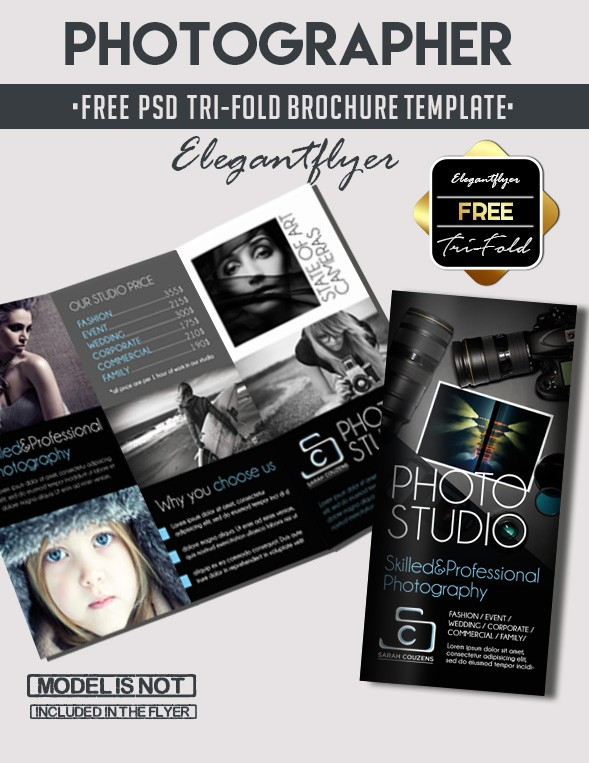 Free Tri-Fold Photographer PSD Brochure Template