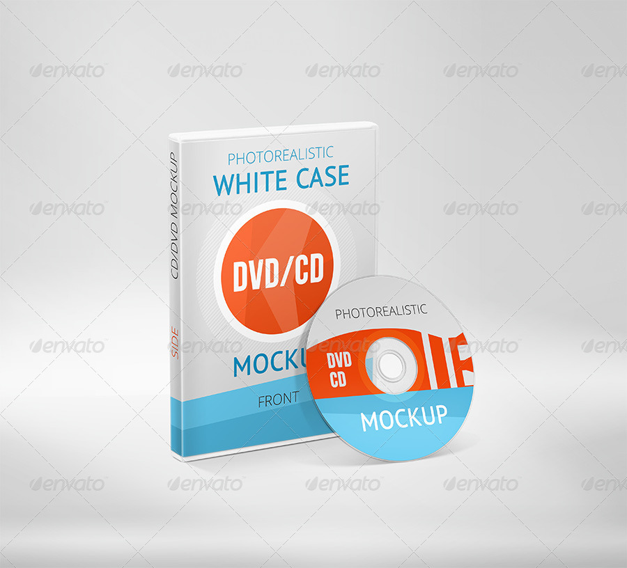 Realistic DVD / CD Mockup White Case & Disks