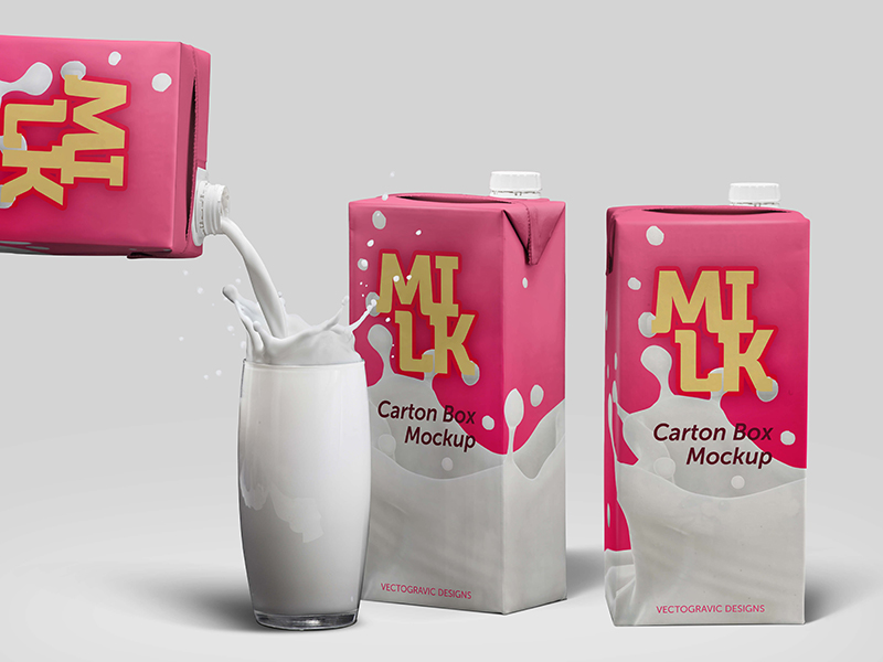Free Milk Carton Box Mockup