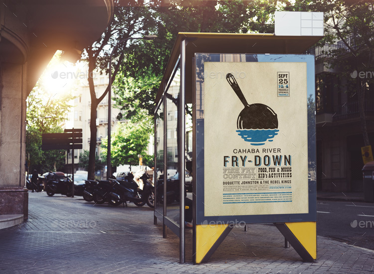 Street Billboard Mockup Template
