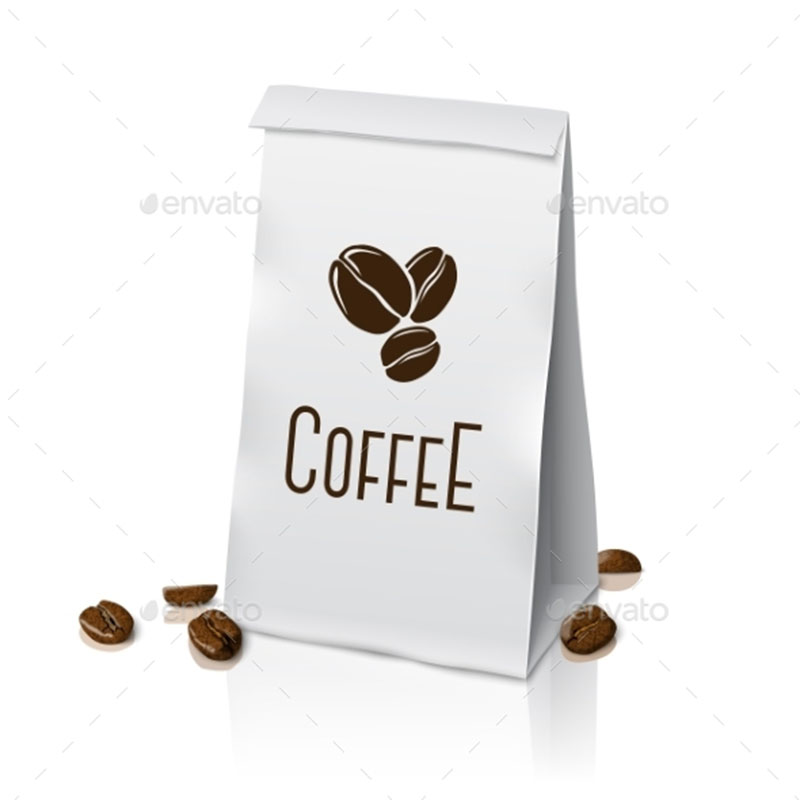 Blank white vector realistic paper packaging coffee bag