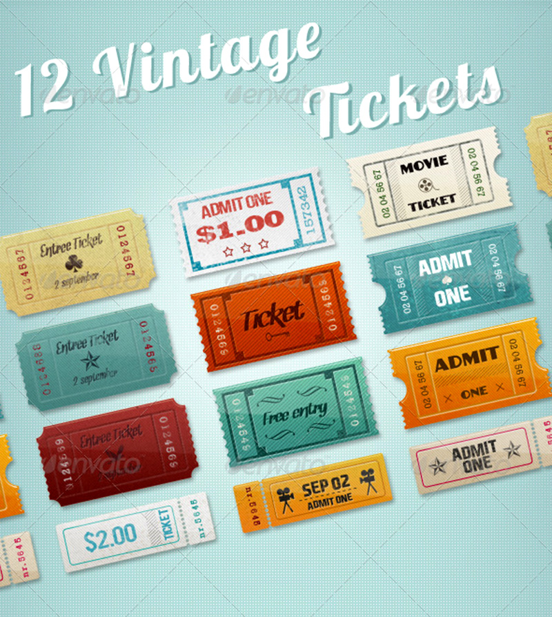 premium vintage event cinema ticket template mockup
