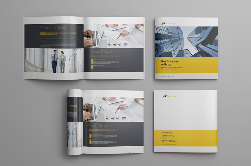 unique square business brochure design premium psd