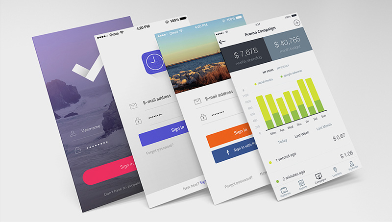great Mobile App Mockup PSD free