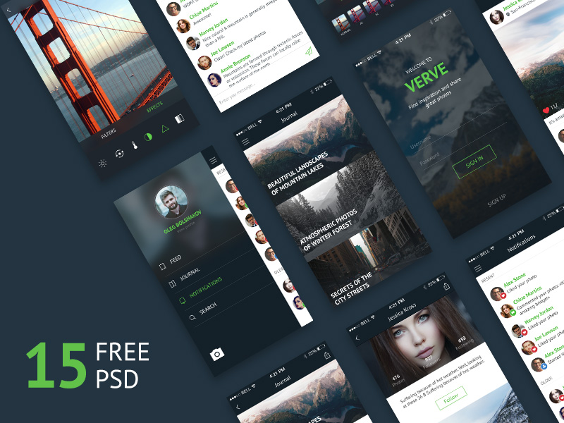 unique design free mobile app ui kit psd