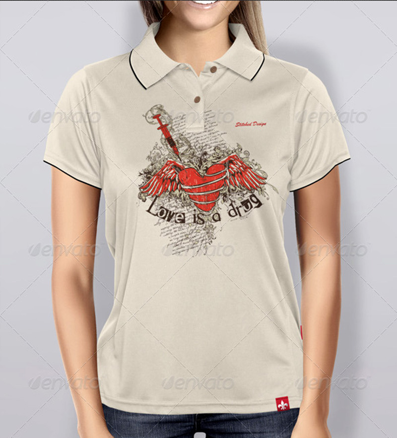 nicely designed women polo shirt mockup psd