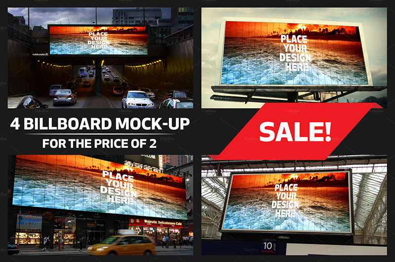 nice and cool premium outdoor advertising billboard mockups psd