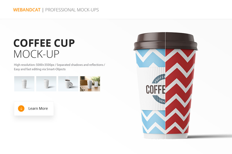cool premium coffee cup mockup template psd