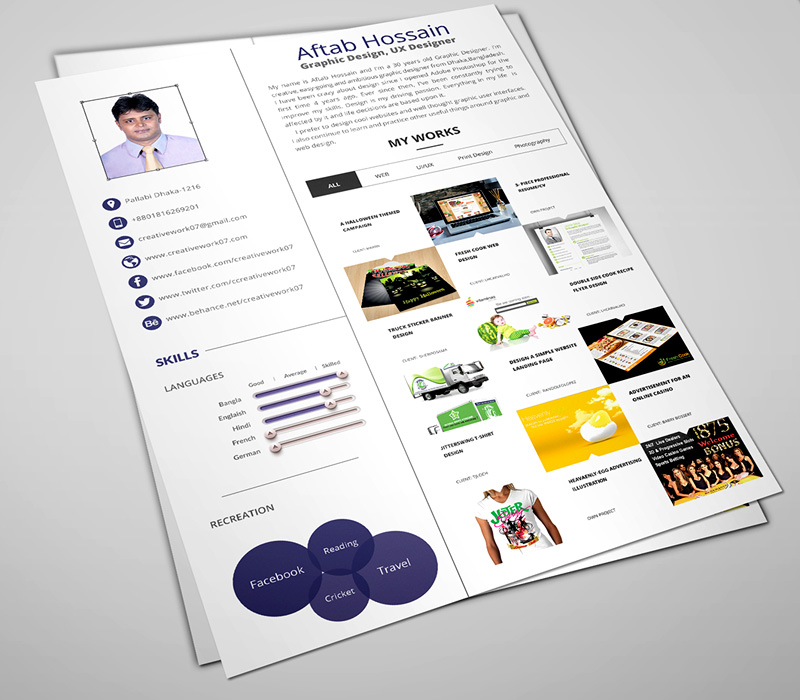 download fantastic PSD resume templates for free