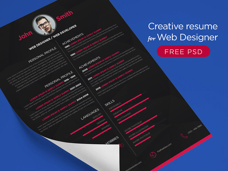 download great PSD resume templates for free