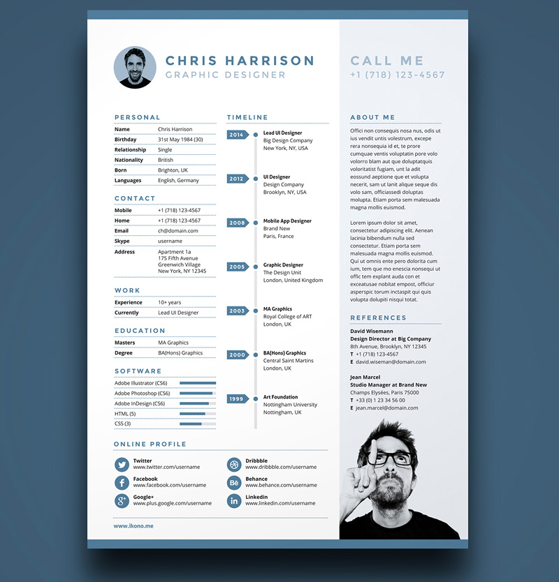 free download modern PSD resume templates