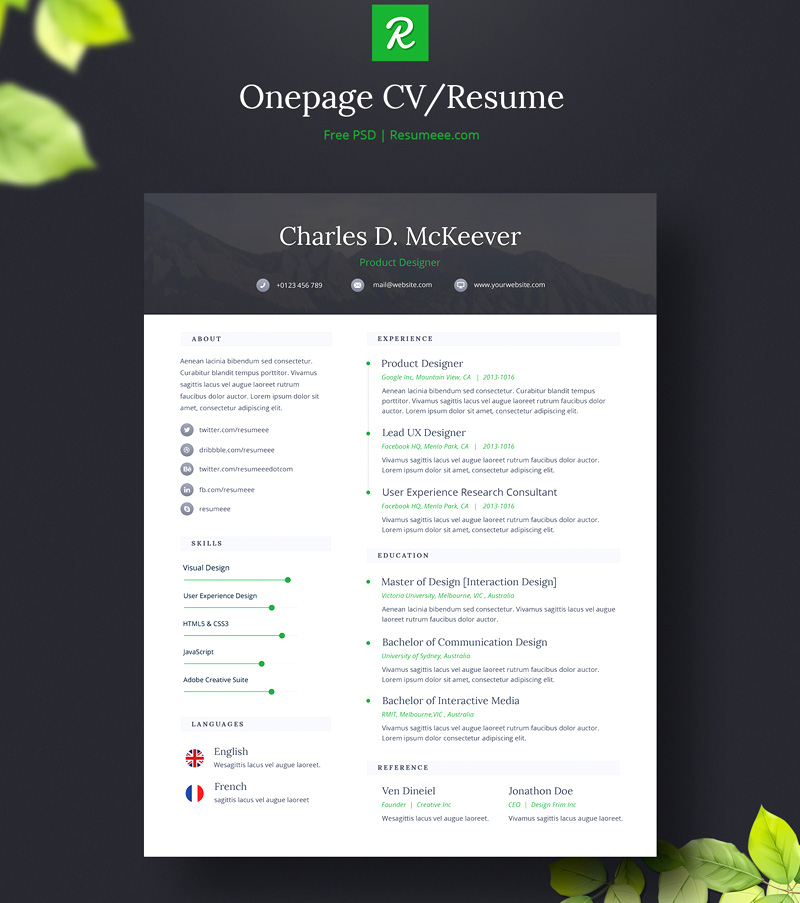 cool PSD resume templates free download