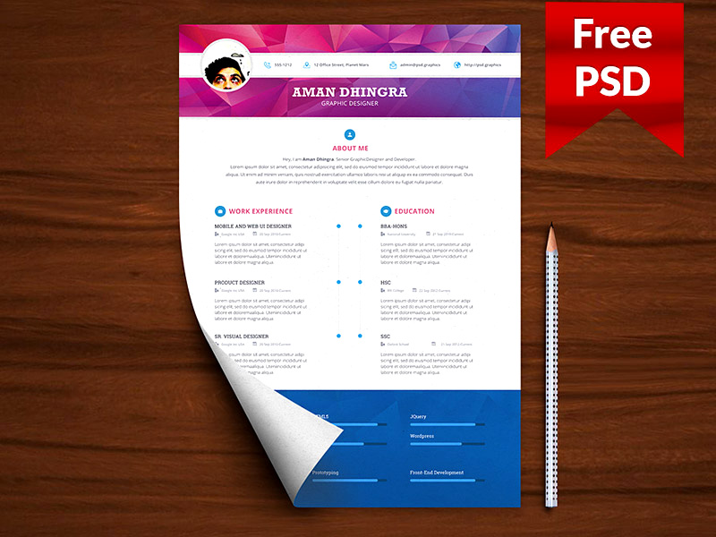 25  modern and wonderful psd resume templates free