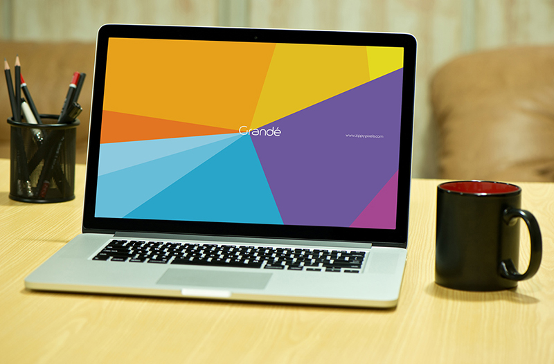 modern MacBook Pro Mockup in PSD for free download